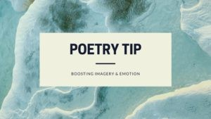 Waves surge across sand. The caption reads: Poetry tip- boosting imagery & emotion.